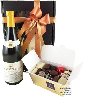 500g Leonidas Chocolates and white wine