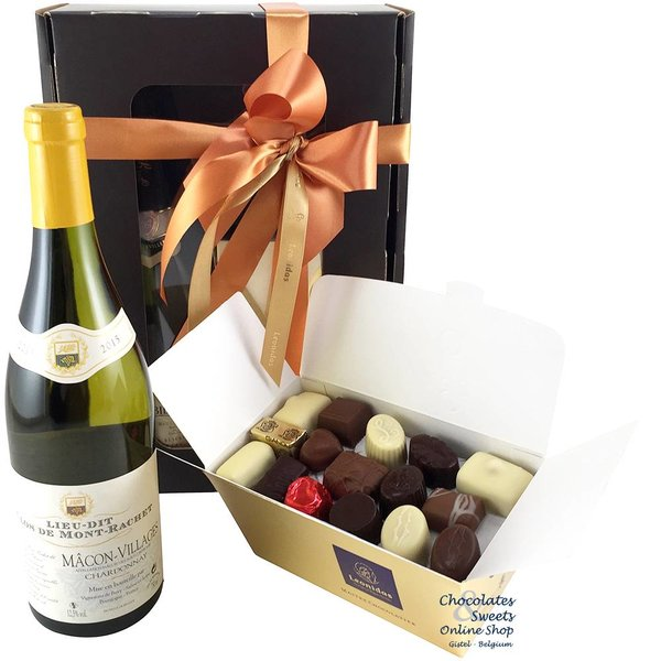 750g Leonidas Chocolates and white wine
