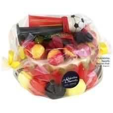 Süßigkeitentorte Fußballmix (rot-gelb-schwarz)
