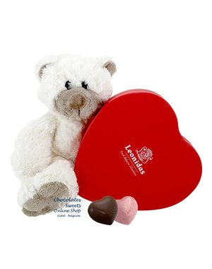 Leonidas Box (12 hearts) and Teddy bear Snoozy (20cm)