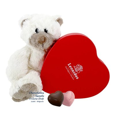 Leonidas Box (12 hearts) and Teddy bear Snoozy (20cm)