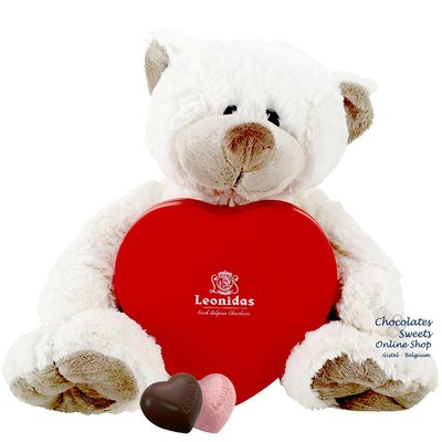 Leonidas Box (12 hearts) and Teddy bear Snoozy (30cm)