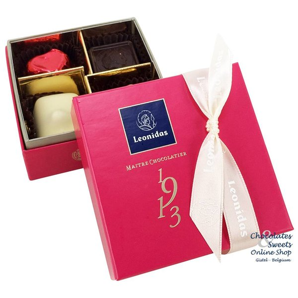 Leonidas Mini-box (fuchsia) 4 chocolates