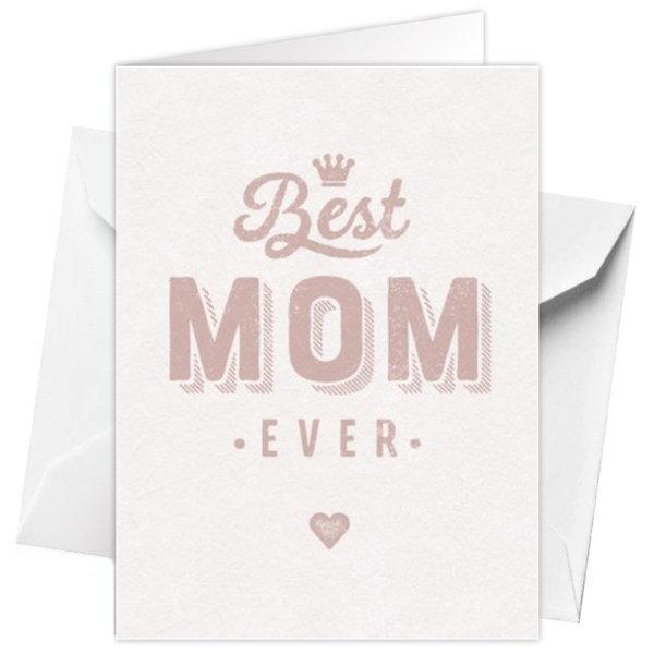 Wenskaart 'Best Mom ever' 12x17cm