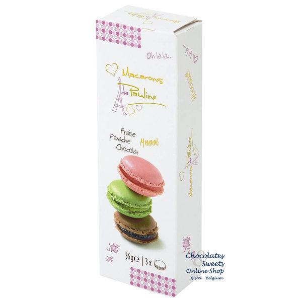 3 Macarons: Erdbeere, Pistazie und Schokolade