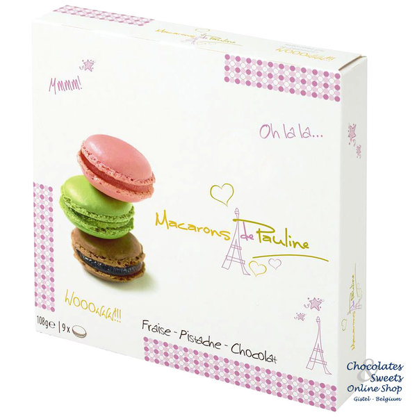 9 Macarons: Erdbeere, Pistazie und Schokolade