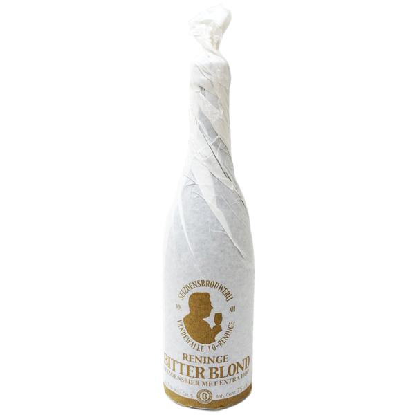 Fles belgisch streekbier 'Reninge Bitter blond' 75cl.