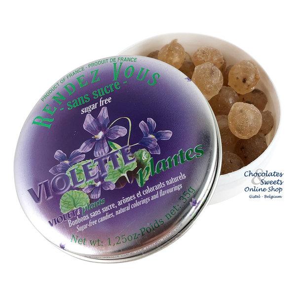Rendez-Vous Suikervrije snoepjes (violet) 35g