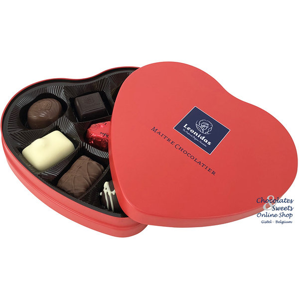 Leonidas Heart tin filled with 9 delicious chocolates