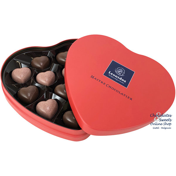 Leonidas Heart tin filled with 12 delicious chocolates