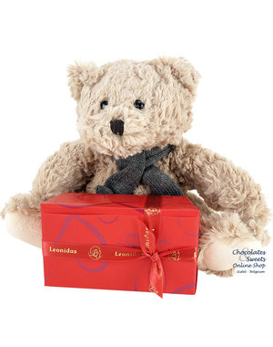 Leonidas 300g chocolates and Teddy bear Bobo (24cm)