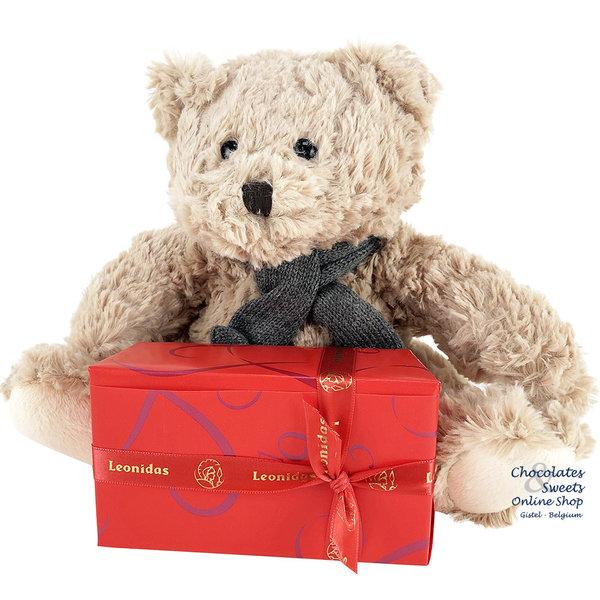 Leonidas 300g chocolates and Teddy bear Bobo (24cm)