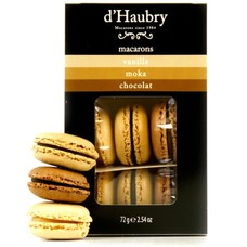 6 Macarons: Vanille, Mokka und Schokolade