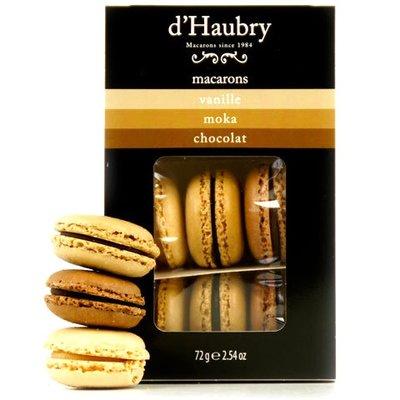 Box mit 6 Macarons: Vanille, Mokka und Schokolade