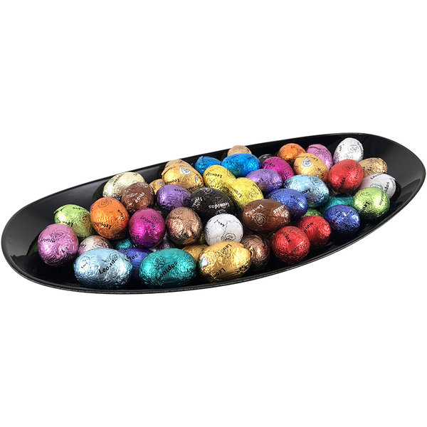 Plastic plate (black) with 60 Easter eggs