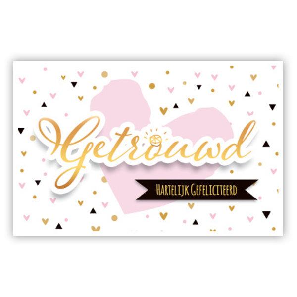 Grußkarte 'Getrouwd - Hartelijk gefeliciteerd'