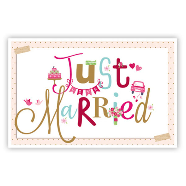 Wenskaart 'Just Married'