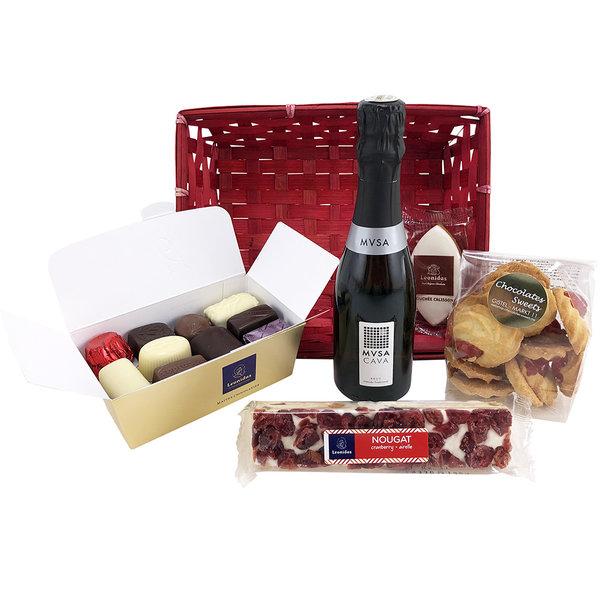 Geschenkkorb mit CAVA & Delikatessen (S)