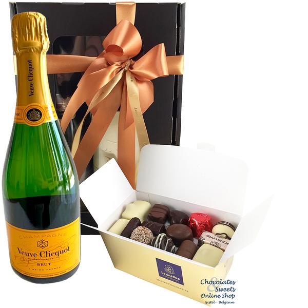 500g chocolats de Leonidas et du Champagne Veuve Clicquot 75cl.