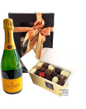750g Pralinen und Flasche Champagne Veuve Clicquot
