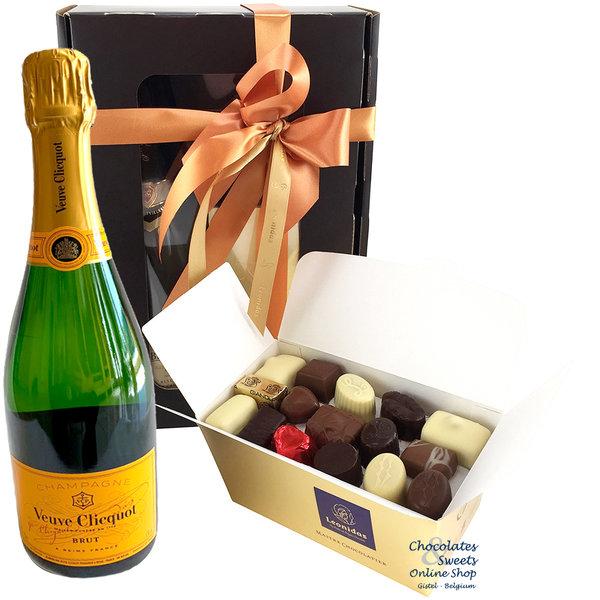 750g Chocolats de Leonidas et du Champagne Veuve Clicquot 75cl.