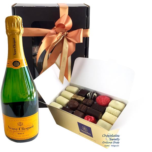 1kg Chocolats de Leonidas et du Champagne Veuve Clicquot 75cl.