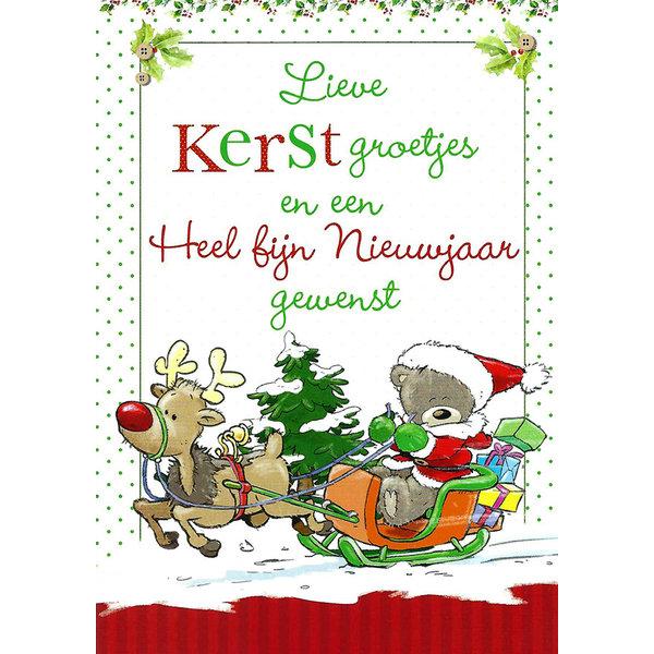 Grußkarte 'Kerstgroetjes - Gelukkig Nieuwjaar'