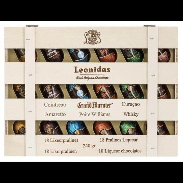 Leonidas Houten kistje met 18 likeurpralines