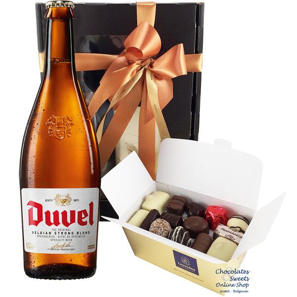 500g chocolats Leonidas et une bouteille de Duvel 75cl