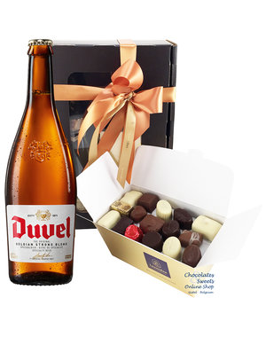 750g Chocolates and bottle of Duvel 75cl