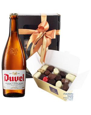 750g Chocolats et bouteille de Duvel 75cl