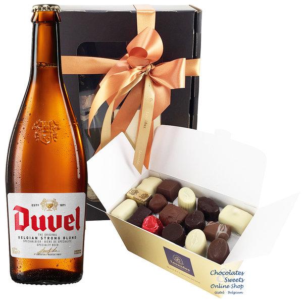 750g chocolats Leonidas et une bouteille de Duvel 75cl