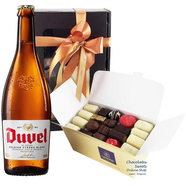 1kg chocolats Leonidas et une bouteille de Duvel 75cl