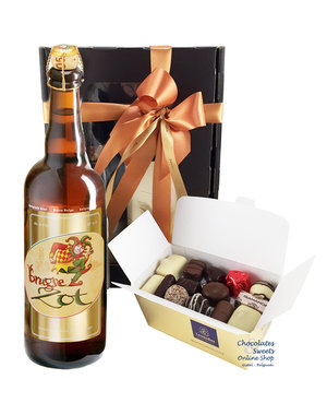 500g Chocolates and bottle of Brugse Zot 75cl