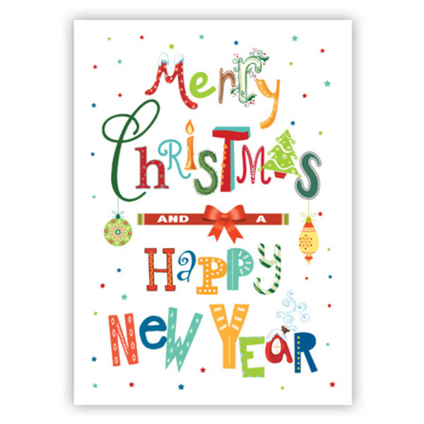 Wenskaart 'Merry Christmas & Happy New Year'