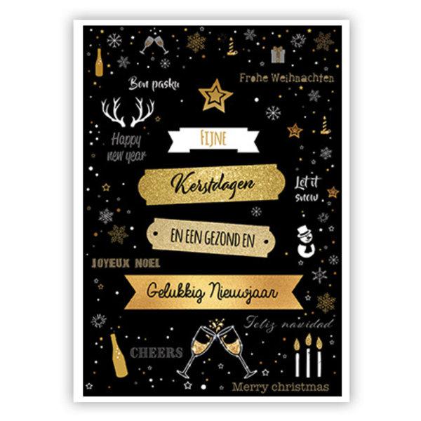 Grußkarte 'Fijne Kerstdagen & Gelukkig Nieuwjaar'