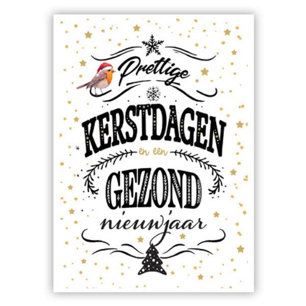 Grußkarte 'Prettige Kerstdagen & Gezond Nieuwjaar'