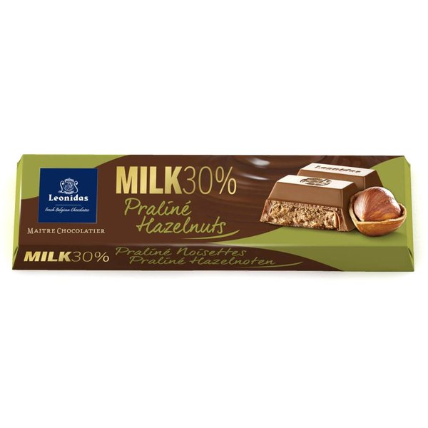 Leonidas Reep Melk 30% cacao - Hazelnootpraliné 50g