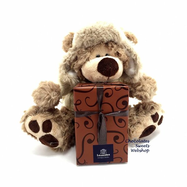 Leonidas 300g chocolates and Teddy bear Dommel (20cm)