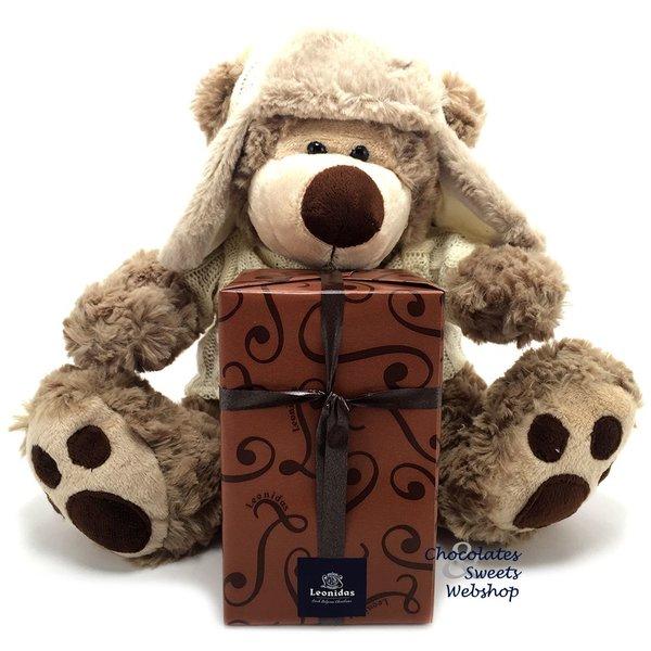 Leonidas 500g chocolates and Teddy bear Dommel (25cm)