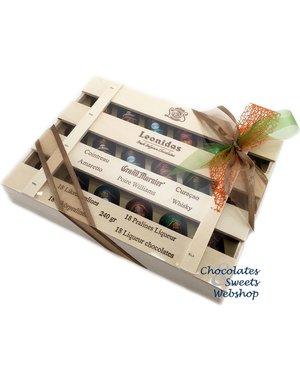 Leonidas Coffret en bois 18 chocolats de liqueur pure