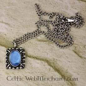 Tudor necklace Elisabeth, blue gem, silver