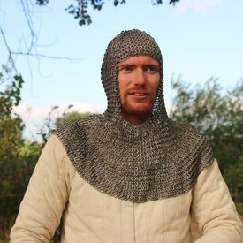 House of Warfare Historical chainmail coif, flat rings, wedge rivets 8 mm