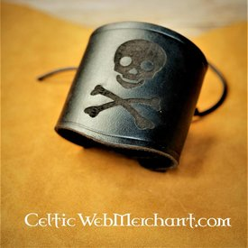 House of Warfare Leather pirate bracelet Jolly Roger