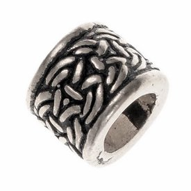 Viking beard bead with knot motif, silvered