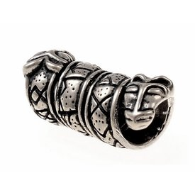Beard bead with Runes and wolf heads, silvered
