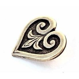 Heart-shaped Viking belt fitting, silvered