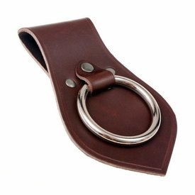 Leather weapon holder for belt, brown
