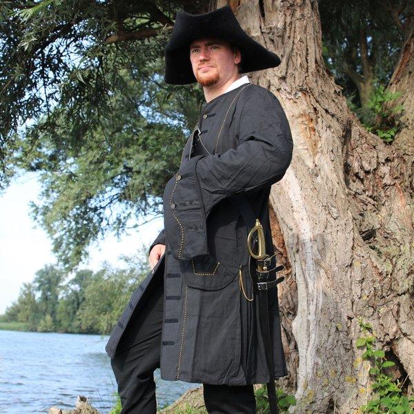 Leonardo Carbone 17th century Buccaneer coat, black