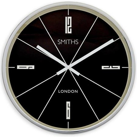 Smiths Station clock - Chrome - Black